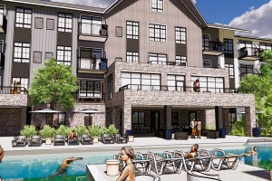 residents lounge by and swim in outdoor pool