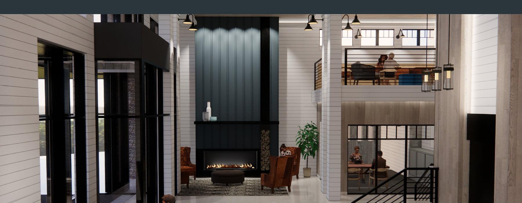 fireside seating in large mezzanine