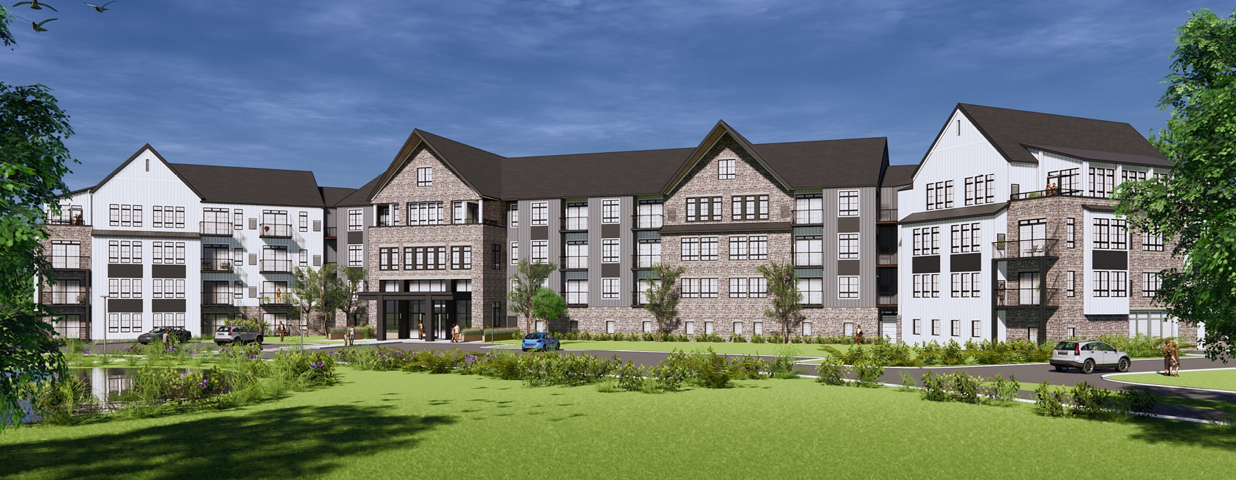 rendering of the Reserve at Sono Apartments exterior and grounds